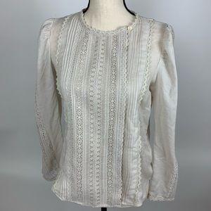 Rebecca Taylor la Vie Embroidered Wool Gauze Top